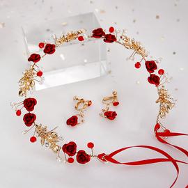 新娘结婚头饰韩式森系仙美红色玫瑰花朵发箍发带婚礼敬酒服发饰品