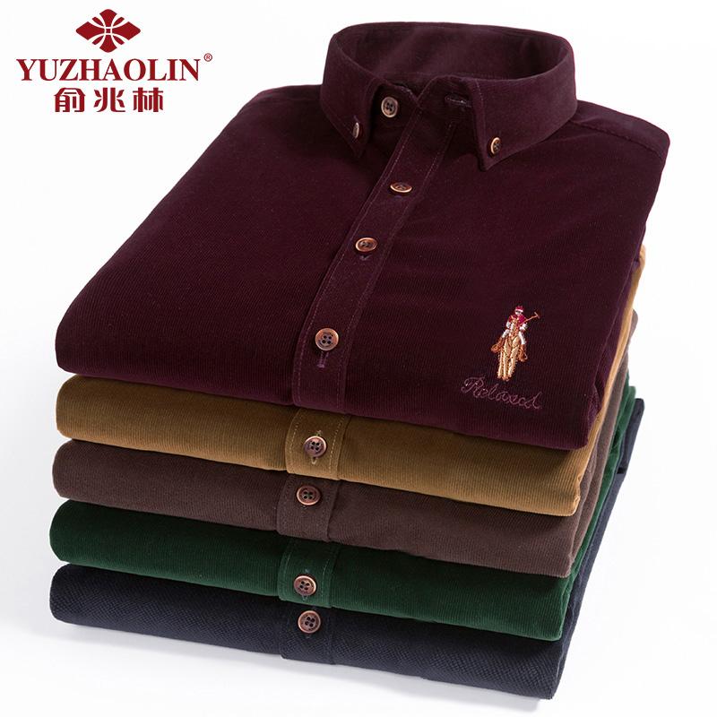 俞兆林复古男式灯芯绒中年长袖衬衫