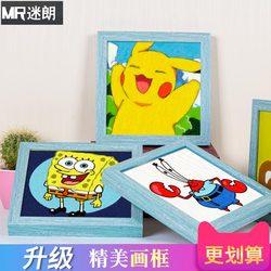 儿童数字油画diy小尺寸迷你卡通动漫人物手绘填充油彩画装饰画