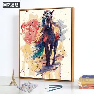客厅欧式 抽象动物马水墨数码 迷朗diy数字油画 饰画 手绘填色油彩装
