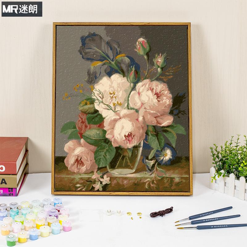 迷朗diy数字油画客厅餐厅抽象花卉大幅数码填色手工油彩画画填充