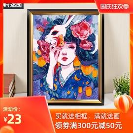 迷朗diy数字油画客厅油彩画画ins中国风涂色解压手工手绘填充填色