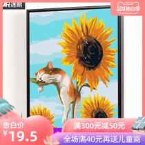 名畫臨摹玄關過道掛畫梵高向日葵現代歐式客廳裝飾畫純手繪油畫