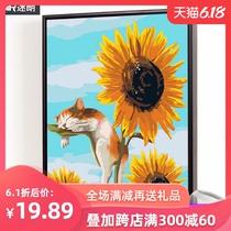 手绘手工填色数码油彩画客厅动漫人物风景花卉装饰画diy数字油画