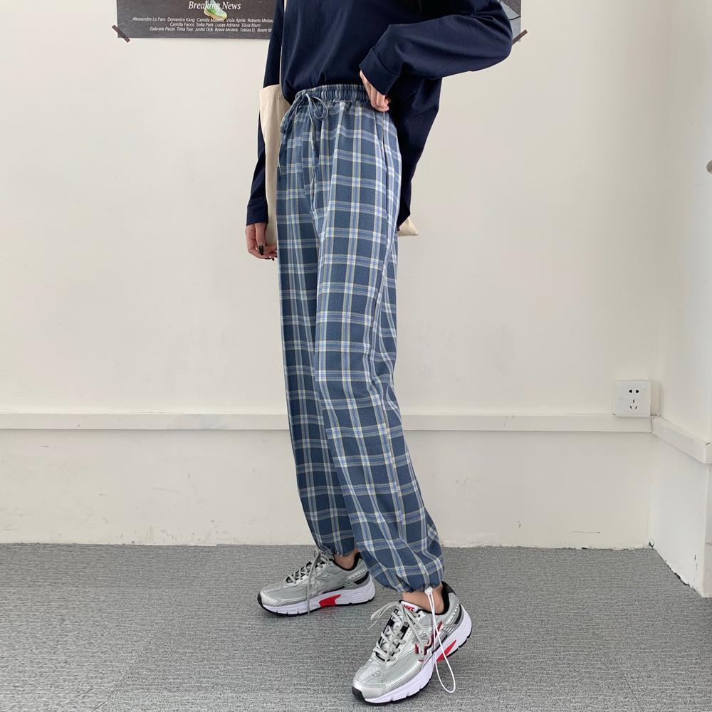 实拍 格子裤女宽松直筒2021秋新款高腰哈伦裤休闲萝卜裤