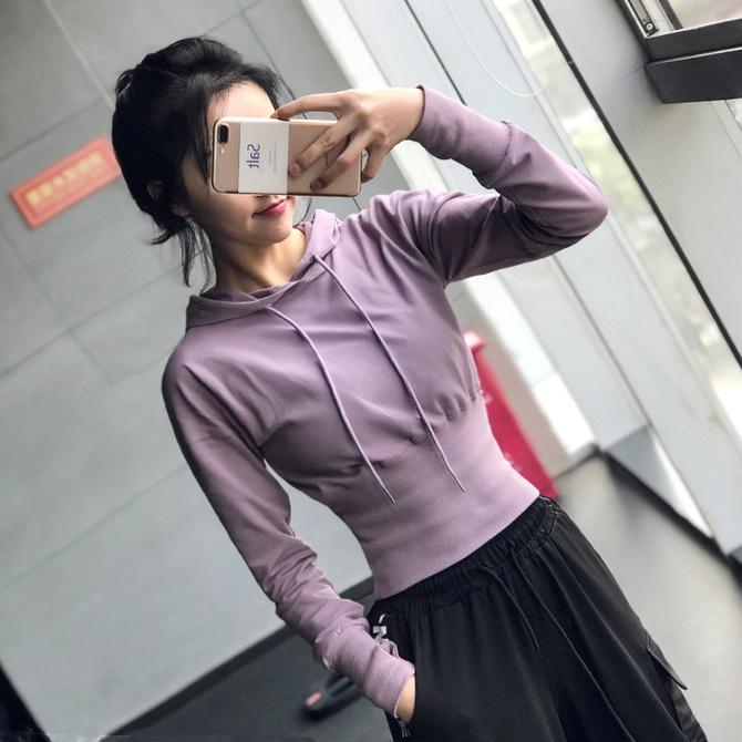 健身长袖 运动上衣女宽松显瘦瑜伽服速干t恤跑步弹力 宽松 性感短款