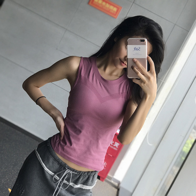 Workout clothes women's tight-fitting yoga vest running t-shirt quick-drying clothes navel sleeveless sports top summer dance outer wear
