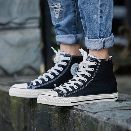 环球2019春夏新款高帮帆布鞋男女韩版情侣系带布鞋休闲鞋学生板鞋