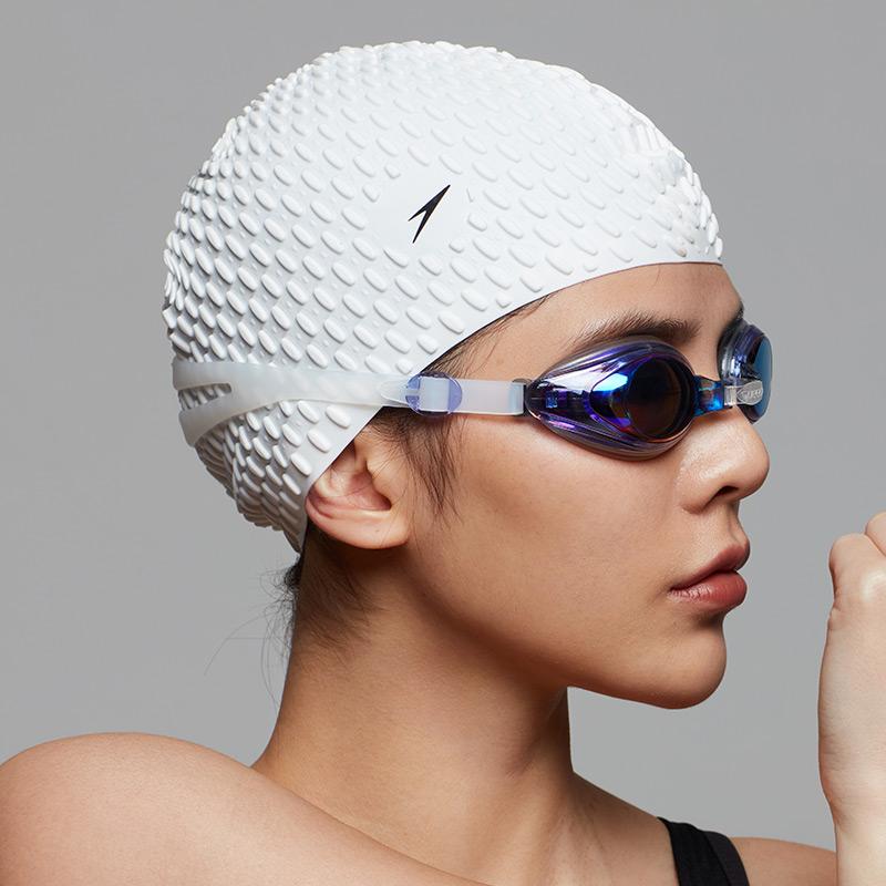 Speedo速比涛硅胶泳帽 男女防水不勒头长发护耳泡泡帽泳镜游泳帽