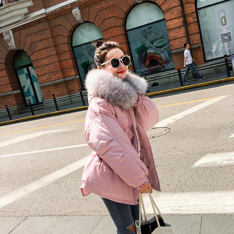 2017年冬季新款女式韩版超大毛领休闲棉衣外套收缩腰带短款羽绒服