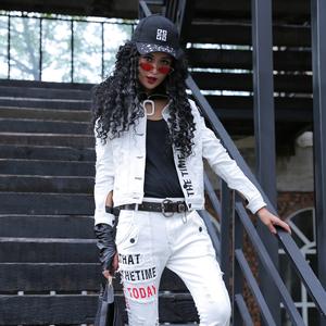 帅气白色牛仔外套女秋季新款短款破洞上衣潮牌短外套街头机车女装
