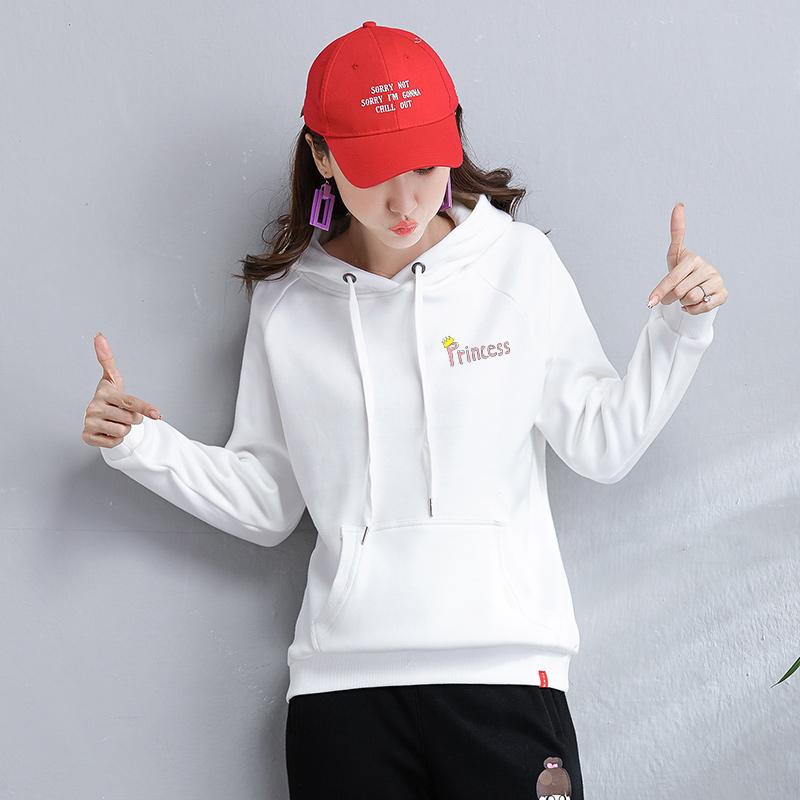 白色卫衣女士连帽宽松韩版bf原宿ulzzang学生2020春秋季新款外套图片
