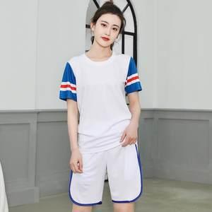 篮球服女套装假两件短袖宽松定制运动韩版女生篮球衣女子两件套