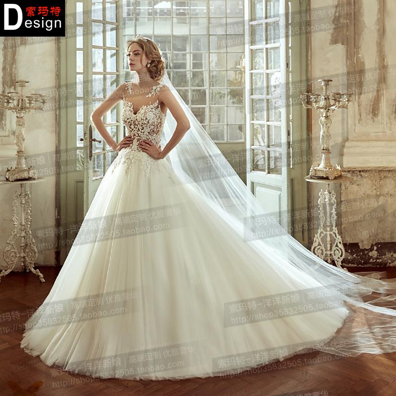 婚纱礼服新娘长拖尾2020新款春季修身抹胸显瘦简约宫廷蓬蓬裙