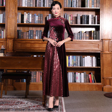 Duoli Qi gold velvet cheongsam long elegant noble mother wedding dress red wedding long sleeve mother-in-law Qipao