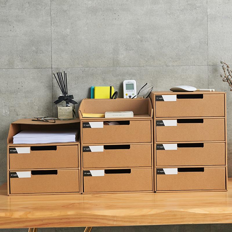 桌面多层收纳盒办公室整理神器票据收纳A4文件夹收纳盒牛皮纸抽屉图片