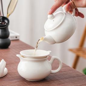 骨瓷茶壶白色陶瓷盖碗泡茶器茶盘
