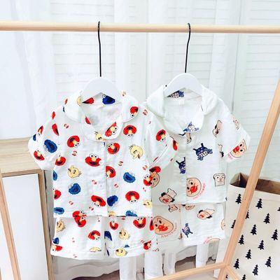 兒童睡衣套裝短袖男童純棉紗布面包超人家居服女寶寶夏季空調服