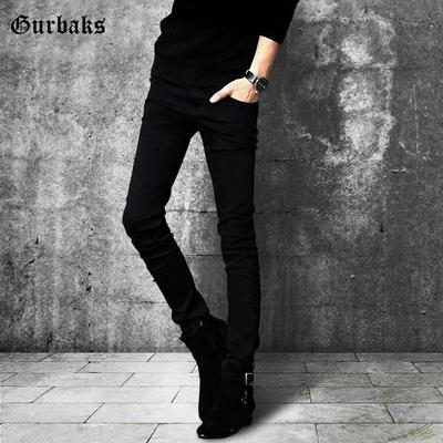 夏季黑色牛仔裤男潮牌韩版潮流百搭小脚弹力裤子修身紧身休闲长裤