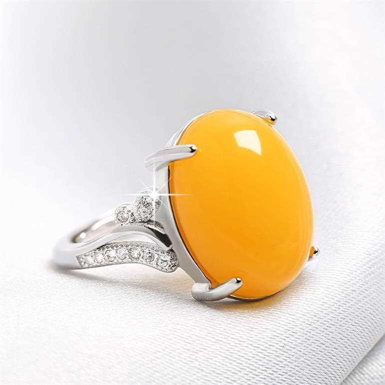 Natural green chalcedony ring chicken oil yellow honey wax second generation amber blood Po womens style national style retro hand jewelry