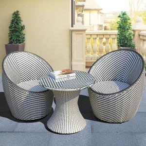 户外藤椅茶几三件套露台创意休闲一桌二椅腾编露天阳台小桌椅组合