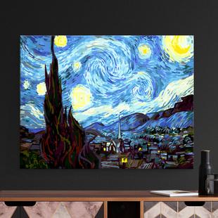 自油自画 饰画手工填色手绘填充油彩画梵高星空 数字油画diy客厅装