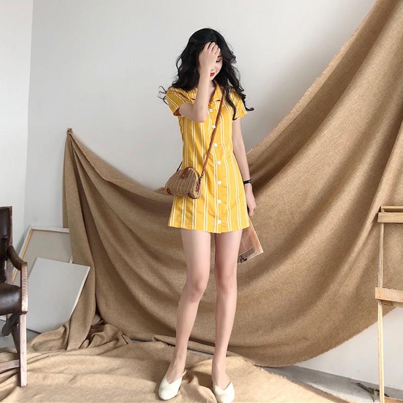 社会女裙子显瘦寸衣冷色系女装连衣裙御姐范2018新款原宿短裙精神