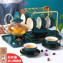 北欧煮水果茶壶套装英式轻奢下午茶花茶茶具蜡烛加热花茶壶花茶杯