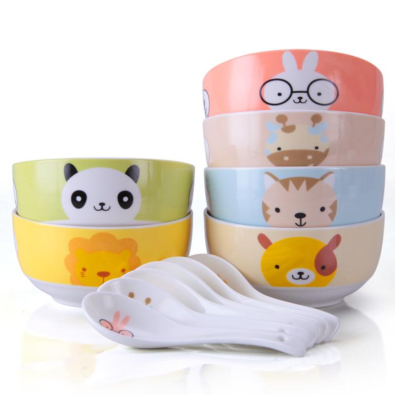 卡通碗套裝可愛兒童碗吃飯陶瓷碗家用米飯碗韓式骨瓷餐具碗勺湯碗