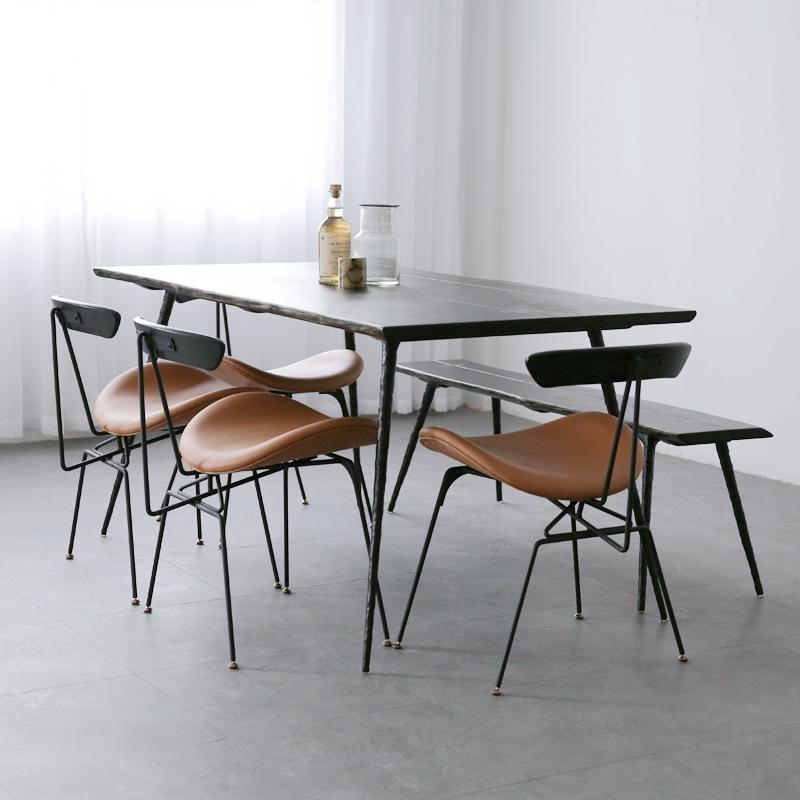 北欧餐桌铁艺实木自然边长方形轻奢复古工业风设计师餐桌椅组合