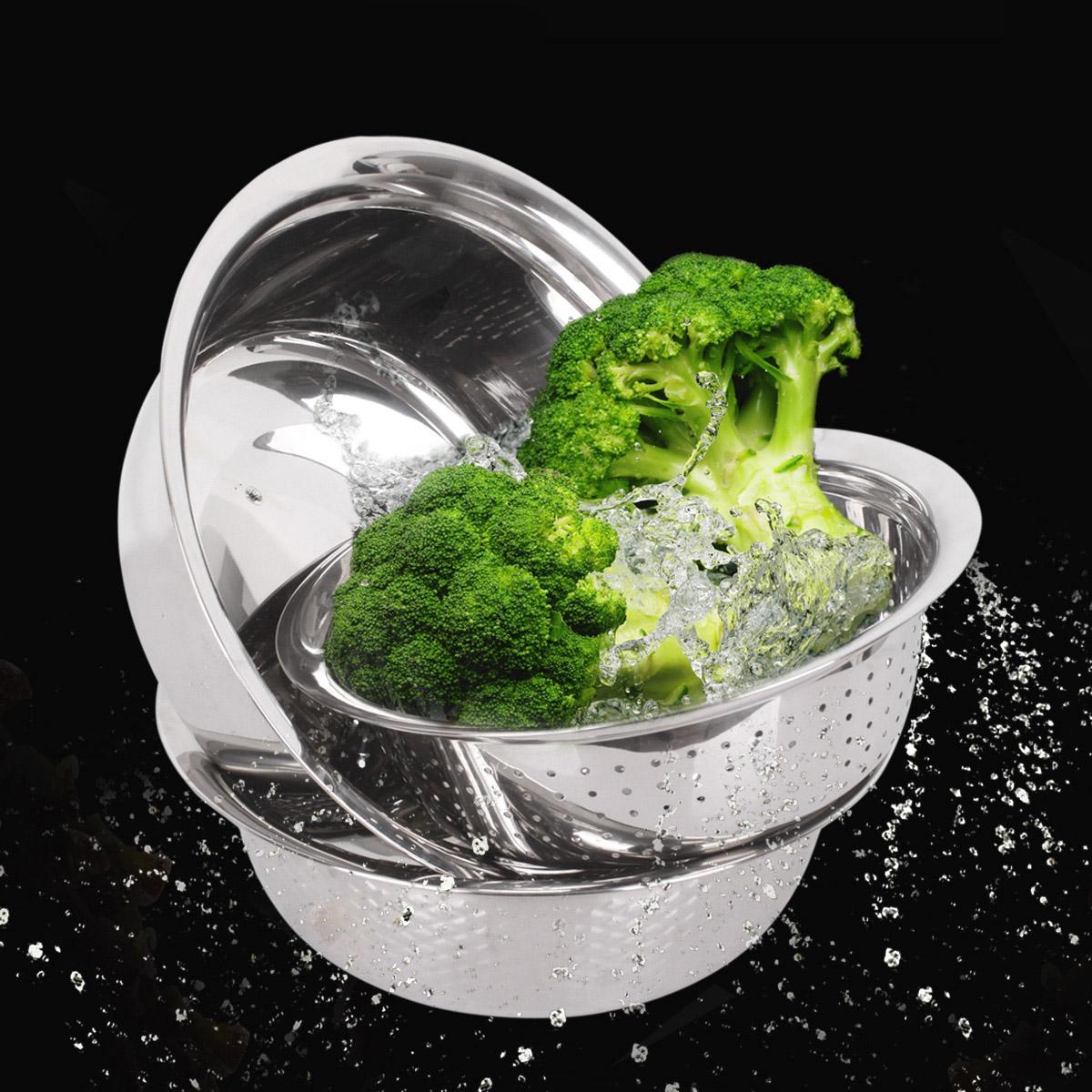不锈钢米筛盆 三件套装 洗菜盆和面盆淘米篮果蔬盆沥水盆