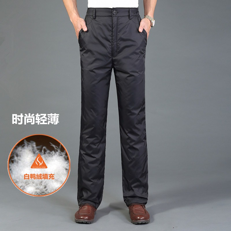 Down pants men wear thickened high waist middle-aged and elderly down pants men wear cotton pants white duck down in winter plus fat plus size