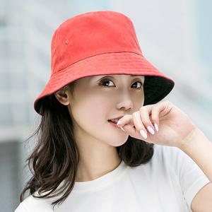 遮阳帽女士夏季新款日系休闲防晒帽双面文艺渔夫帽子出游折叠盆帽