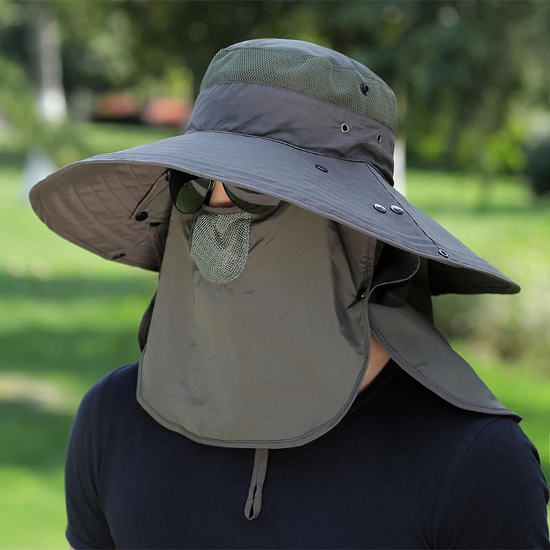 遮阳帽子男钓鱼帽夏季户外太阳帽大檐垂钓透气渔夫帽登山防晒凉帽