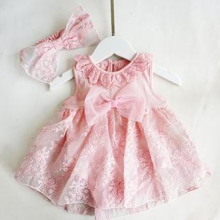 女嬰兒夏季百天寶寶衣服新生兒滿月公主裙百歲宴女孩夏裝包屁薄款