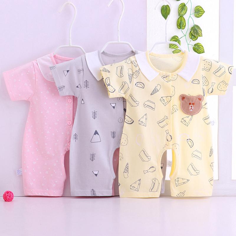 嬰兒連體衣短袖純棉卡通爬服睡衣男女寶寶夏裝哈衣薄款新生兒衣服