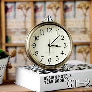轻奢复古欧式闹钟创意桌面摆饰静音台钟罗马字床头台式复古小座钟