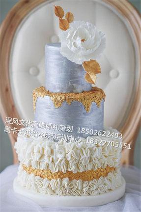 天津奥卡卡专业艺术烘焙订制高端结婚婚礼甜品台高级多层翻糖蛋糕