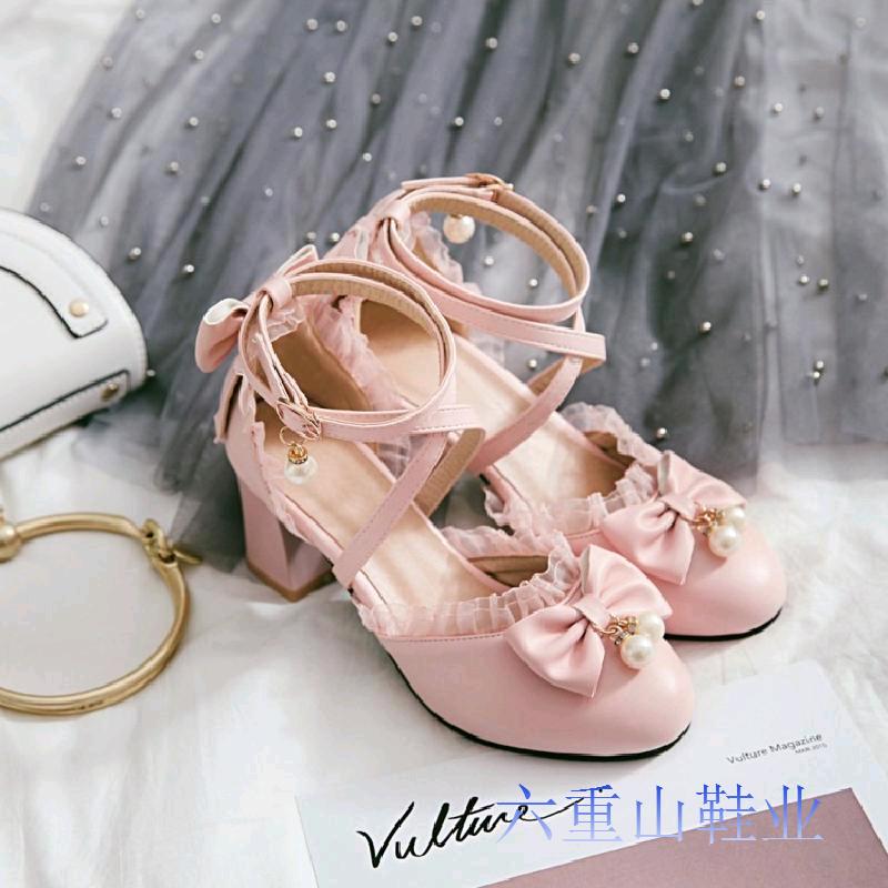 日韓系夏交叉帶cos蝴蝶結蕾絲蘿莉原宿包頭洛麗塔lolita軟妹涼鞋