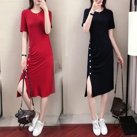 夏季连衣裙女2020新款中长款莫代尔休闲显瘦性感收腰黑裙子图片