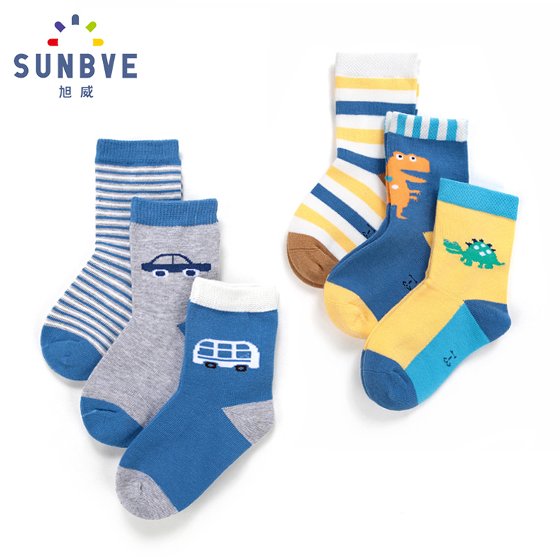 Xuwei Children's Socks Boys'Socks in Spring, Autumn and Winter Baby's Socks 1-3-5-7-9 Years Old Boys' Socks Pure Cotton Baby's Socks