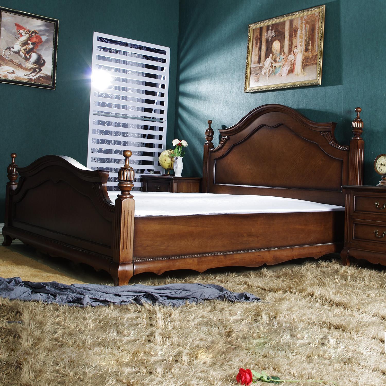新古典美式乡村实木床1.5 1.8 2米欧式双人床储物床深色家具现货