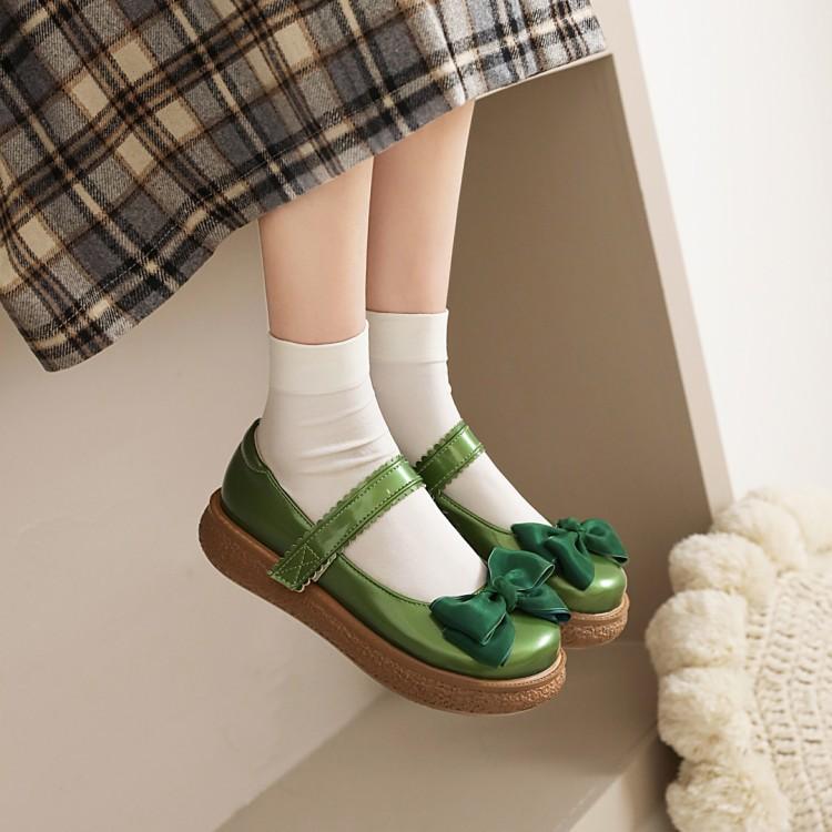 2021 spring medium heel thick bottom muffin single shoe womens bow Lolita red white green Decor orange