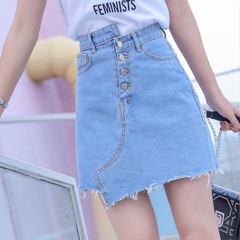 支持活动跑量工字扣不规则半身裙女chic高腰显瘦牛仔裙短裙A字裙
