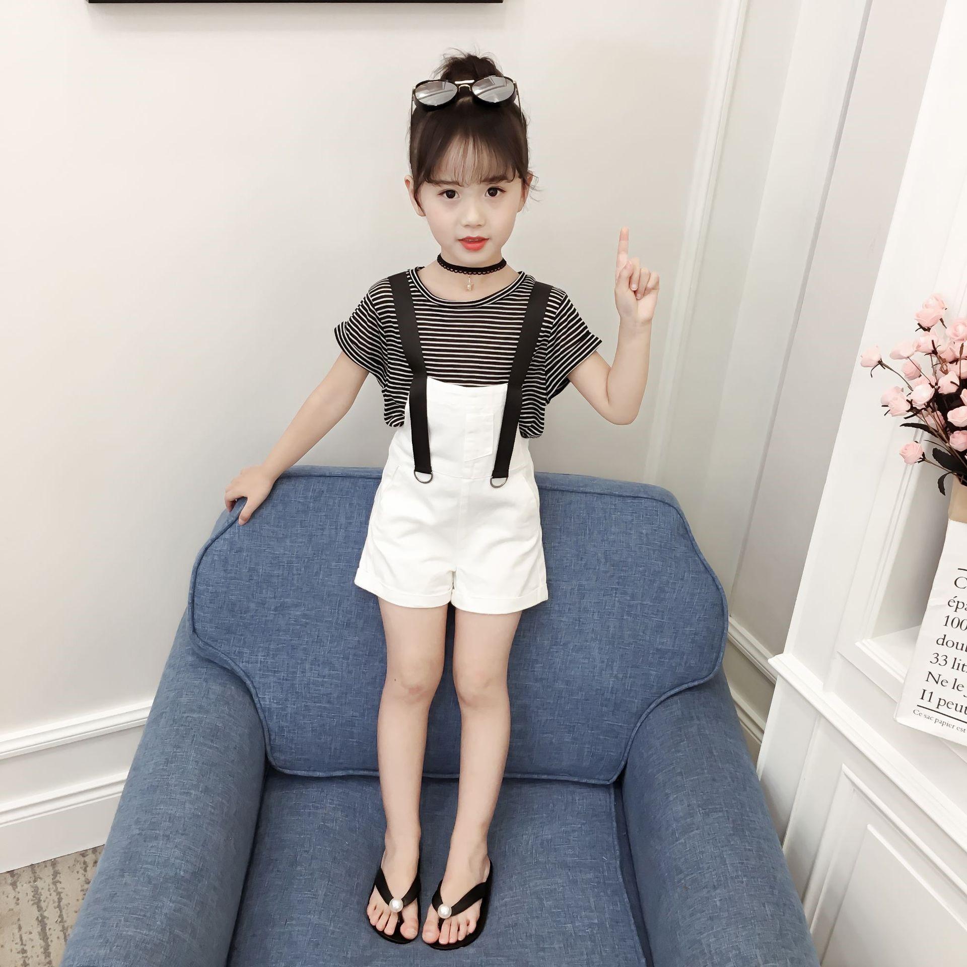 女童夏装套装2018新款韩版5儿童背带裤4时尚7女孩洋气时髦两件套9