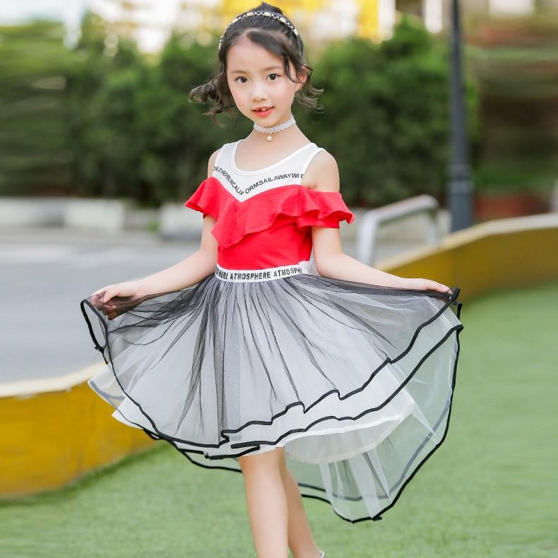 洋气新款女童连衣裙夏装中大童儿童一字肩夏季纱裙拖尾公主裙子