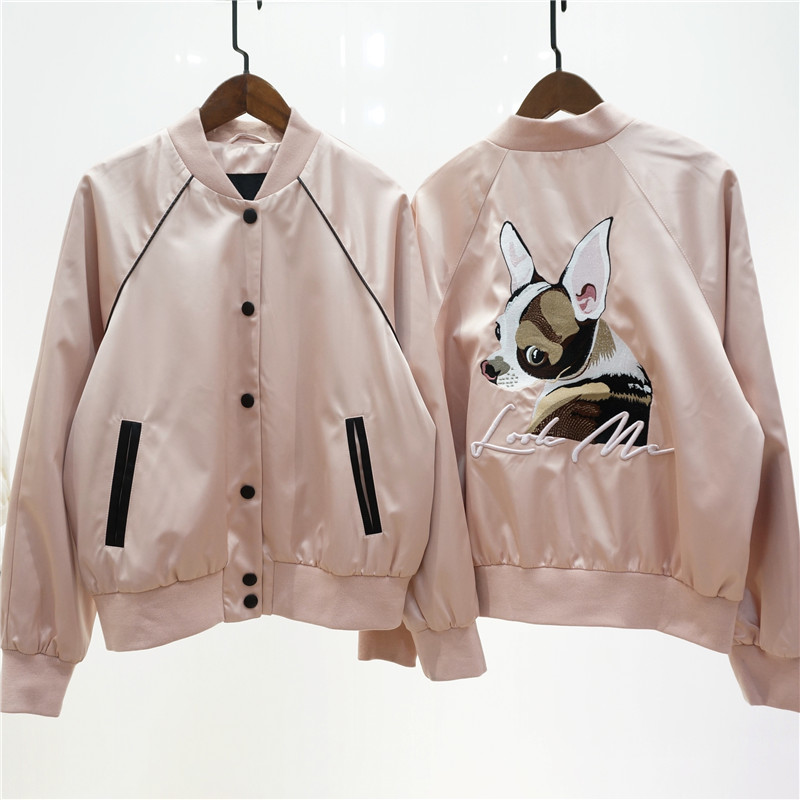 High quality Pearl Satin Embroidered Baseball Jacket New back dog computer embroidery stand collar womens jacket
