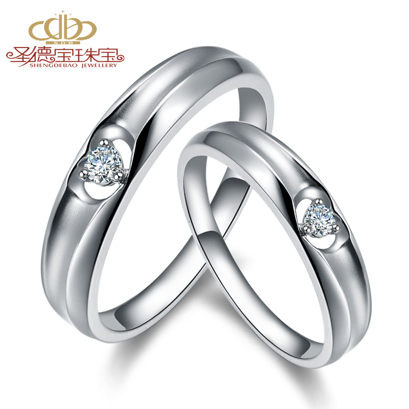 Shengdebao 18K platinum diamond couple ring wedding ring mens and womens ring engagement love - an arrow through the heart