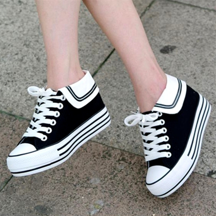 Navy sail cloth shoes womens spring, summer and autumn students high bottom muffin shoes low top versatile casual shoes black