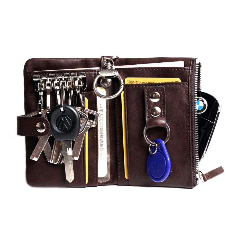 钥匙包男士可放证件 时尚真皮小钥匙包 零钱包牛皮汽车钥匙包腰挂